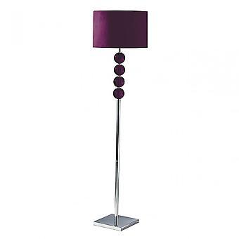 Premier Home Mistro Floor Lamp - EU Plug, Chromed Suede, Purple