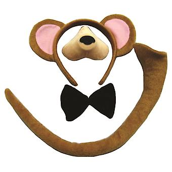 Bristol Novelty Childrens/Kids Monkey Ears Nose Tail And Bow Tie Set