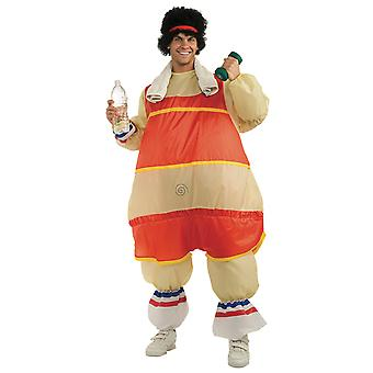 80s Exercise Guy Inflatable Workout Fat Sport Funny Men Costume STD