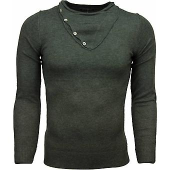 Casual sweater-Trendy collar Design buttons Men-D. Grey