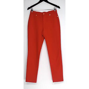 Isaac Mizrahi Live! Pants Ponte Knit Ankle Snap Details Red A260963
