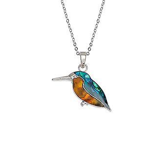 Evig samling Kingfisher Paua Shell sølv tone Bird anheng halskjede