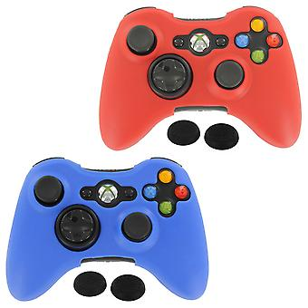 Controller cover skin & thumb grip twin pack for microsoft xbox 360 - red & blue