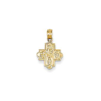 14k Yellow Gold Solid Polished Reversible Mini for boys or girlsature Four Way Medal Pendant - Measures 12x12mm