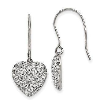 Edelstahl Hirte Haken poliert mit Preciosa Kristall Liebe Herz lange Tropfen Baumschminken Ohrringe Schmuck Geschenke für Wome