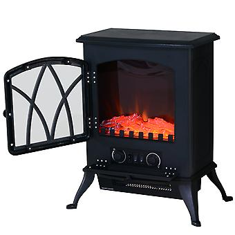 HOMCOM Free Standing Electric Fireplace Stove with Fan and Log Burning Flame Effect 2000W / 1000W Room Heater Wood Burner 2 Heat Settings  (Black)