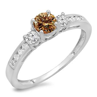 Dazzlingrock Collection 0.75 Carat (ctw) 14K Champagne et White Diamond 3 Stone Engagement Ring 3/4 CT, White Gold