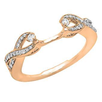 Dazzlingrock Collection 0.25 Carat (ctw) 10K White Diamond Swirl Anniversary Wedding Band Ring 1/4 CT, Rose Gold