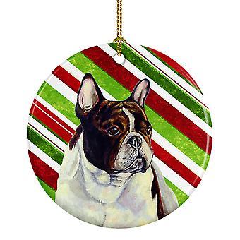 Bulldog Francés bastón de caramelo vacaciones Navidad adorno cerámica LH9247