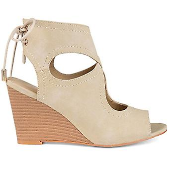 Brinley Co. Womens Cilla Faux Leather Open-Toe Center-Cut Wedges