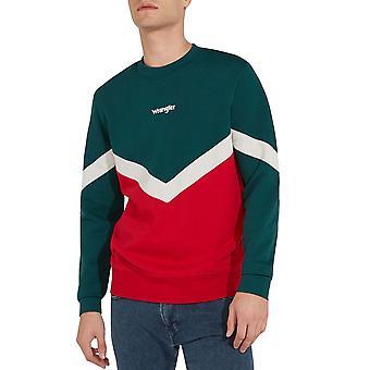 Wrangler Mens Box Long Sleeve Crew Neck Top Sweatshirt Sweater - Crimson Red