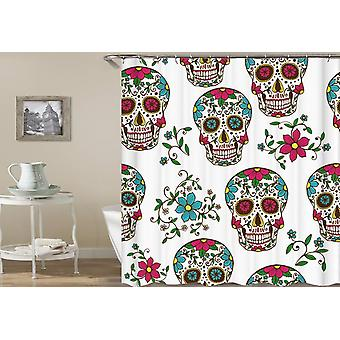 Colorful Blooming Skulls Shower Curtain