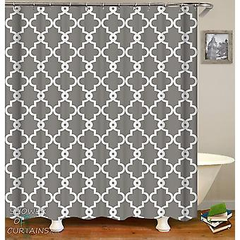 Grey and White Moroccan Pattern Shower Curtain