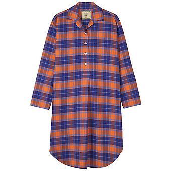 British Boxers Tangerine Dream Two Fold Flannel Nightshirt - Orange/Blue