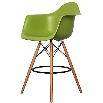 Charles Eames Style Green Plastic Bar Stool With Arms