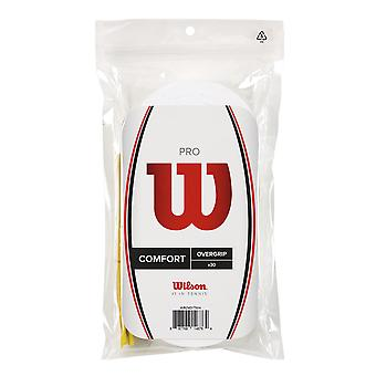 Wilson Pro Overgrip 30 Pack Waterproof Tennis Grips - White - 30 Pack