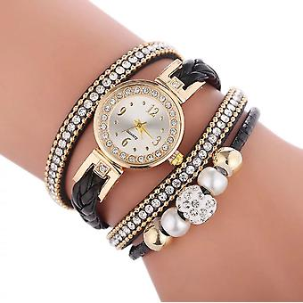 Layered pearl & crystal multi wrap watch