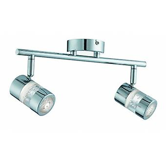 Led 2 Light Bathroom Spotlight Bar Chrome Bubble Effetto Ip44