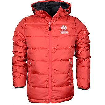 Franklin & Marshall 123xn Hooded Zip patrouille Puffer rouge Nylon Jacket