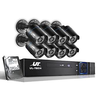 1080P 1 TB Eight Channel CCTV Security Camera (8 Pcs) - Black