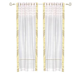 White Hand Crafted Grommet Top Sheer Sari Curtain Panel -Piece