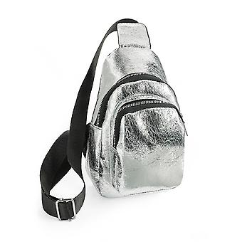 Metallic Silver Colour Cross Body Shoulder Hand Bag 14cm x 23cm