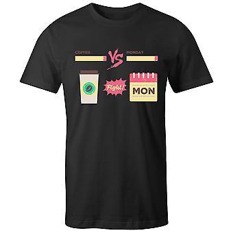 Boys Crew Neck Tee Short Sleeve Men's T Shirt- Coffee Vs Monday