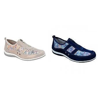 Boulevard Womens/Ladies Floral Print Suede Shoes