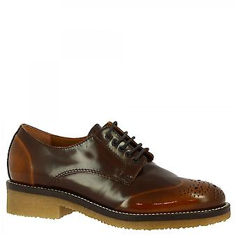Leonardo Shoes Women's handmade lace-ups oxfords shoes shiny brown leather