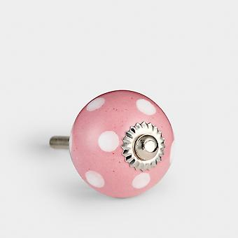 Kleine Keramik Türknopf - rosa / weiß - Spot