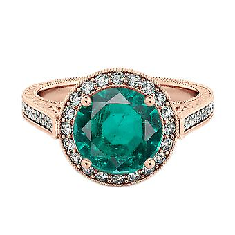 Emerald 2.10 ctw Ring with Diamonds 14K Rose Gold Halo Filigree With Accents