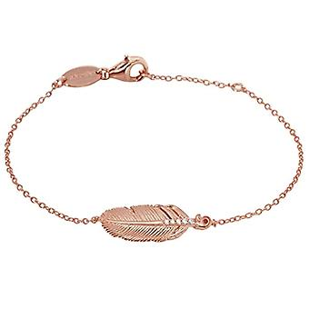 Engelsrufer feather bracelet for women rose gold plated 925 Sterling silver white zircons length 16cm (6 -30') + 2 cm (0.79;apos;)