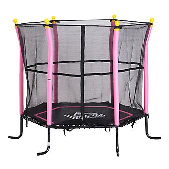 HOMCOM 5FT / 61 Inch Kids Mini Trampoline Exercise Rebounder with Safety Enclosure Net Bungee Design  Six Legs Capacity to 60kg Pink