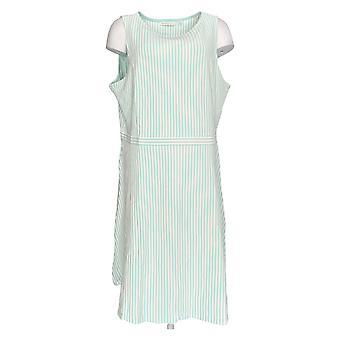 Isaac Mizrahi Live! Dress Striped Knit Sleeveless Green A275823