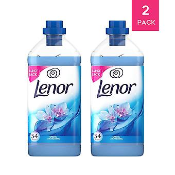Lenor Fabric Conditioner Spring Awaking Softener Liquid 108 Washes 2 Pack 1.9l Fresh Scent