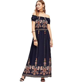 Femmes Casual Cotton Party Short Sleeve Floral Work Swing Dress