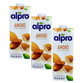 Alpro Mandel Original Milch trinken Zucker FREE Low Fat Vegeterian Drink 1 Liter x 3