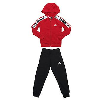 Girl's adidas Junior Cotton Tracksuit in Red