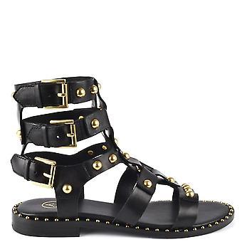 الرماد الأحذية بيتروس الصنادل الجلدية السوداء