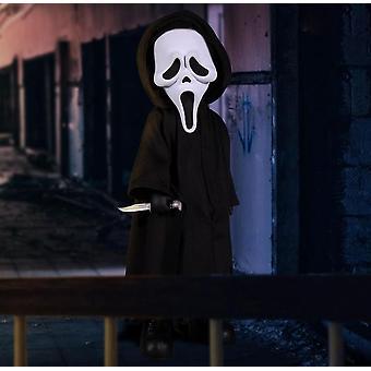 Living Dead Dolls Presents Scream Ghost Face aus Kunststoff, Kleidung aus Stoff, von Mezco Toys.