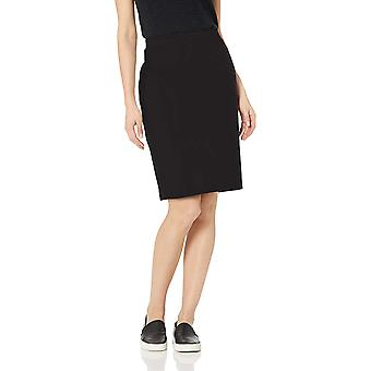 Daily Ritual Women's Terry Cotton and Modal Pencil Skirt, Black, L