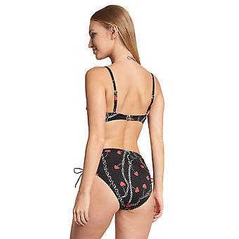 Féraud Voyage 3205211-10996 Women's Black Print Motif Non-Pwired Swimwear Beachwear Bikini Set