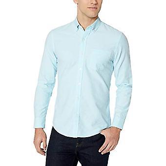 أساسيات الرجال & apos;ق سليم تناسب طويلة الأكمام الصلبة جيب قميص أكسفورد, أكوا,...