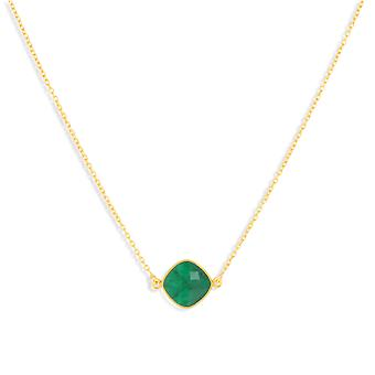 ADEN Gold Plated 925 Sterling Silver Emerald ronde vorm Ketting (id 4467)