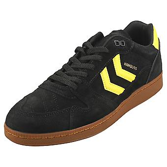 hummel Hb Team Mens Casual Trainers in Black Yellow