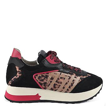 Ash TIGER Trainers Black Suede And Cheetah Print