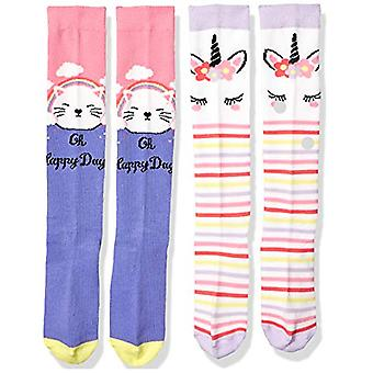 Spotted Zebra Kids' 4-Pack Knee Socks, Cats and Unicorns, Small (10-13)