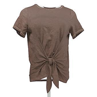 AnyBody Women's Regular Top Cozy Knit Slub Tie Front Tee Brown A374517