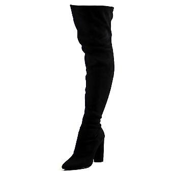 Womens Stretch uitgerust puntige teen blok hiel Fashion dij hoge laarzen UK 3-10