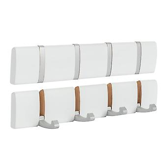 Wooden Wall Mount Coat Rack - 4 Foldaway Metal Hooks - White - Pack of 3